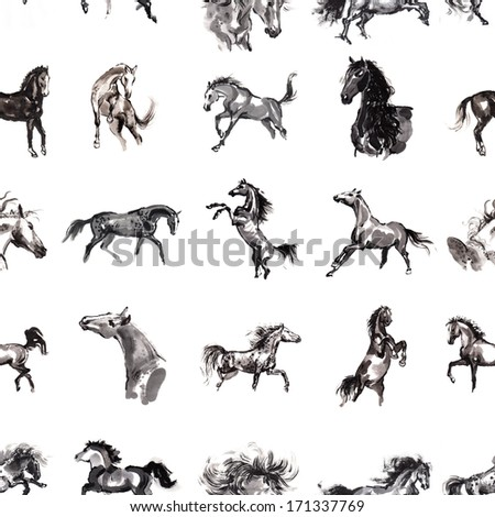 Horses seamless background. 16 images of horses, oriental ink painting, original art. Wallpaper. Fabric texture. - stock photo