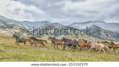 Horses stampede, digital oil painting - stock photo