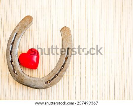 Horseshoe Heart On Background Bast Fibers Stock Photo 100 Legal