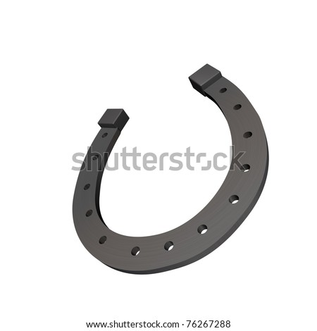 Horseshoe closeup isolated on white - stock photo