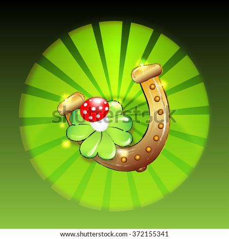 horseshoe, clover and mushroom on shiny backround - stock photo