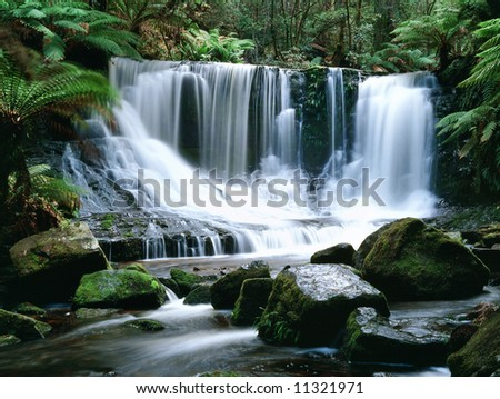 Horseshoe Falls Australia Tasmania Mt Field NP, - stock photo