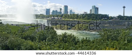 Horseshoe falls viewed from american side, Canadian Niagara falls city behind the river