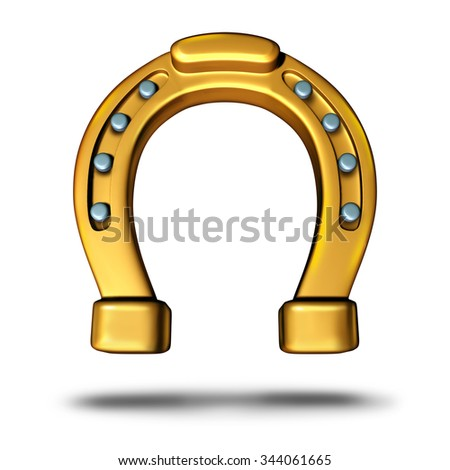 Horseshoe icon or horse shoe symbol as a good luck charm as a golden metal object as a metaphor for fortune and success or a lucky element. - stock photo
