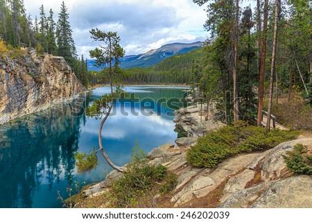 Horseshoe Lake in Jasper National Park, Alberta, Canada - stock photo