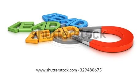 Horseshoe magnet attracting new leads in a target, 3d conceptual image for illustration of lead generation - stock photo