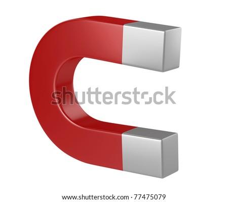 Horseshoe magnet 3d illustration isolated on the white background - stock photo