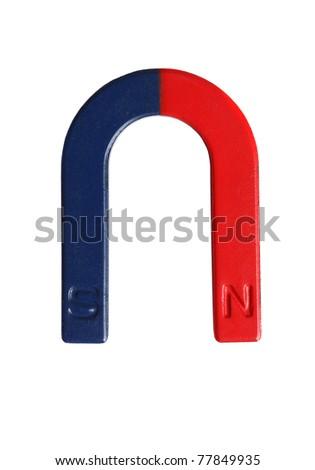 Horseshoe magnet isolated on white - stock photo