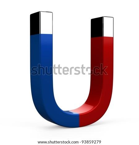 Horseshoe magnet on white background - stock photo