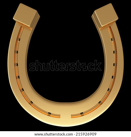 horseshoe. realistic. isolated on black background. 3d illustration - stock photo