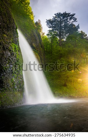 Horsetail Falls at sunset, in the Columbia River Gorge, Oregon. - stock photo