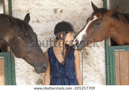 horsewoman with his horses - stock photo