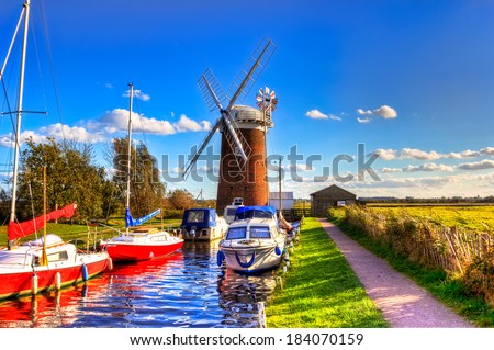 Horsey Wind pump one of the best windmills in Norfolk - stock photo