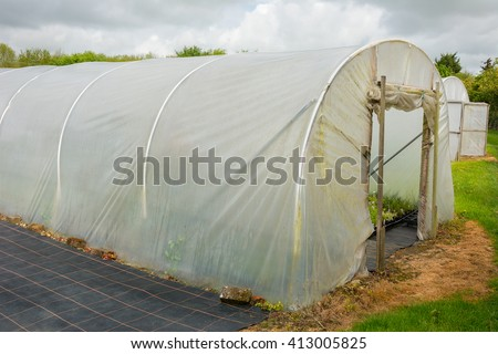 Horticultural polytunnel for growing tender plants. - stock photo