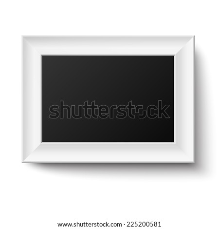 Horyzontal white A4 wooden frame for picture or text isolated. Raster version illustration. - stock photo