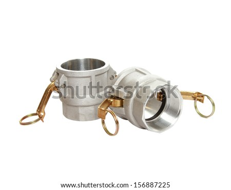 hose fittings on white - stock photo