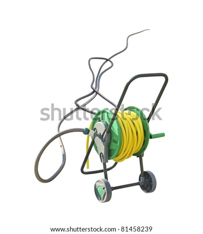 Hosepipe Holder On Wheels. Hose Reel Trolley Isolated On White Background.  Yellow Coil Hose