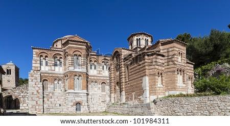 Hosios Loukas monastery situated near the town of Distomo, Greece - stock photo