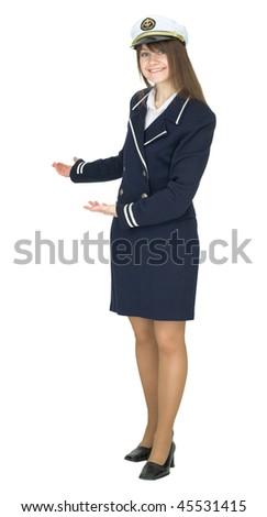 Hospitable woman in uniform sea captain, isolated on a white background - stock photo
