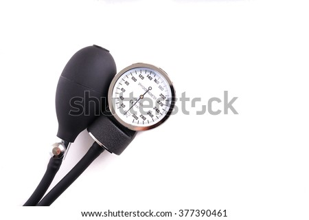 Hospital blood pressure monitor, isolated on white