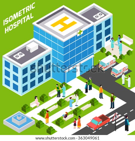 Hospital Building Isometric - stock photo