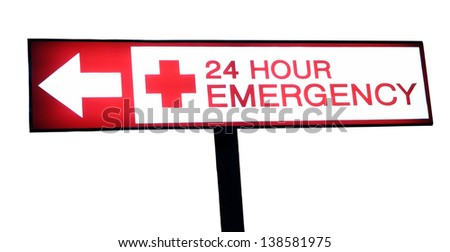 Hospital emergency red neon light sign on white background. - stock photo