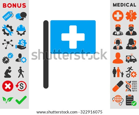 Hospital Flag raster icon. Style is bicolor flat symbol, blue and gray colors, rounded angles, white background. - stock photo
