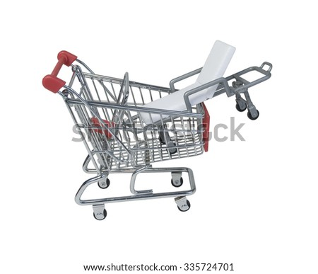 Hospital gurney in a Shopping Cart - path included - stock photo