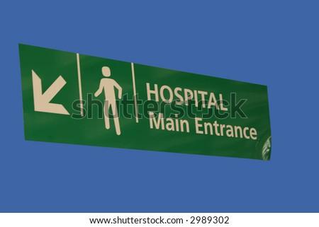 Hospital main pedestrian entrance sign isolated - stock photo