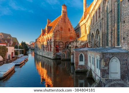 Hospital of Saint John in the winter morning in Bruges, Belgium. - stock photo