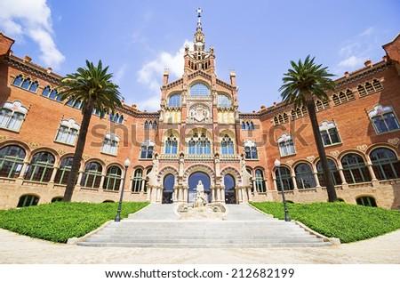 Hospital of the Holy Cross and Saint Paul, (Hospital de la Santa Creu i de Sant Pau), Barcelona, Catalonia, Spain, UNESCO World Heritage Site  - stock photo