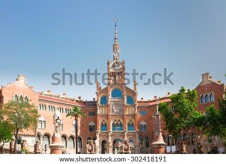 Hospital Sant Pau at summer morning, Barcelona, Spain - stock photo