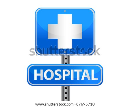 Hospital street sign on a white background - stock photo