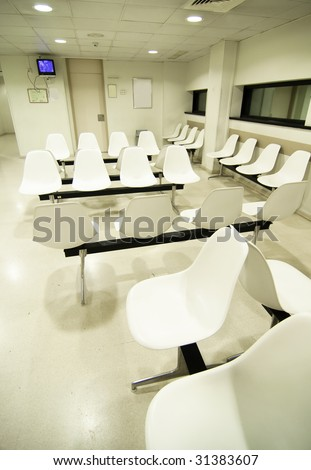 Hospital waiting room in Spain, Europe.