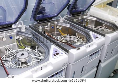Hospital washing machines for medical instruments - stock photo