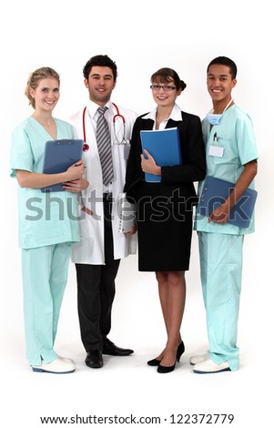 hospital workers posing together - stock photo