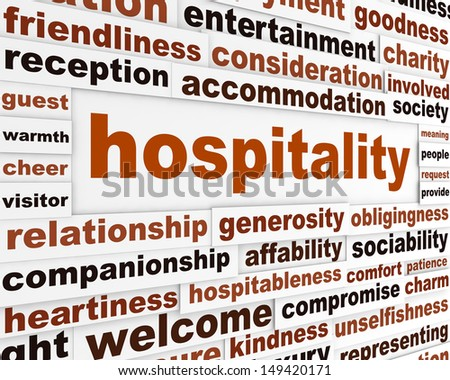 Hospitality creative words conceptual poster. Generosity conceptual message background - stock photo