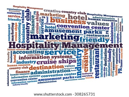 Hospitality Management in word collage - stock photo