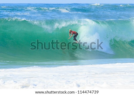 HOSSEGOR, FRANCE - OCTOBER 2: John John Florence defeats Dusty Payne at the  ASP World Tour Quiksilver Pro France October 2, 2012 in Hossegor, France.