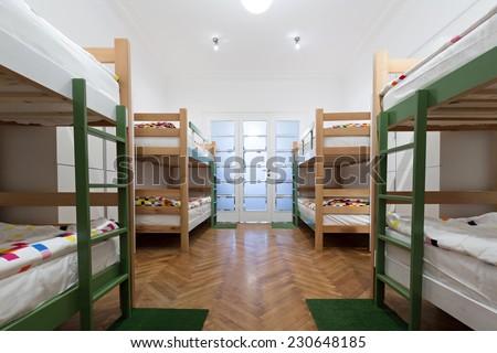 Hostel interior - bedroom - stock photo