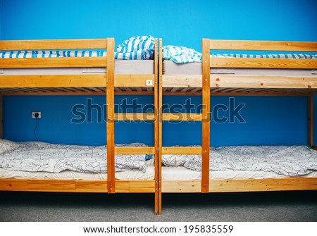 Hostel room with city view. Color room. Bright interior - stock photo