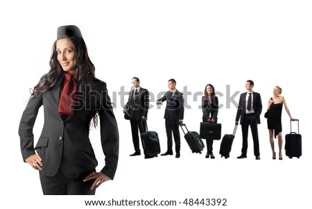 Hostess and group of young business people on the background - stock photo
