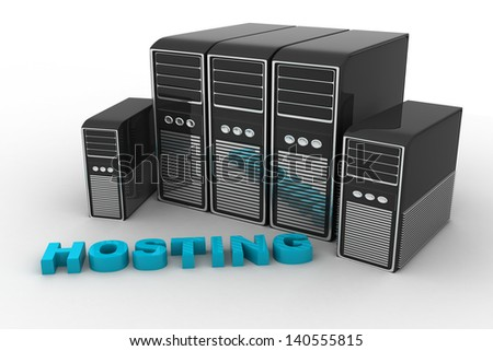 Hosting in front of grey Servers - stock photo