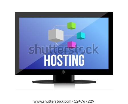 Hosting, Network concept illustration design over a white background - stock photo