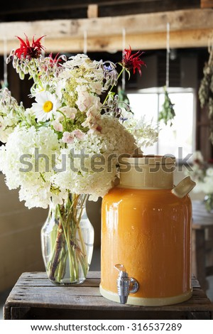 Hosting party at a farm - stock photo