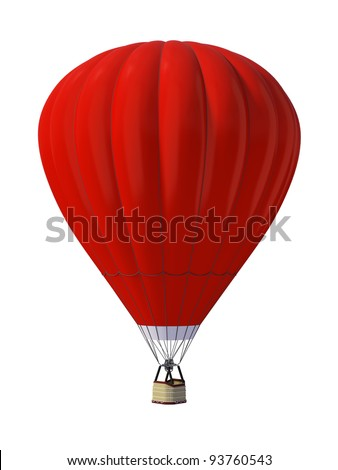 Hot air ballon isolated on white background - stock photo