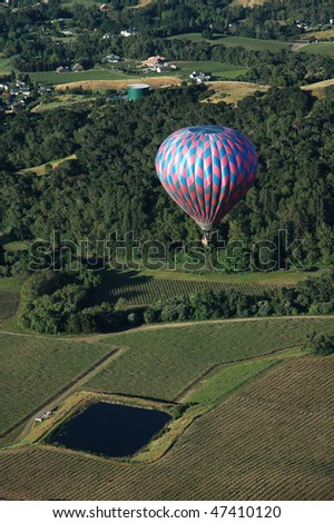 Hot Air Balloon above Napa Valley - stock photo