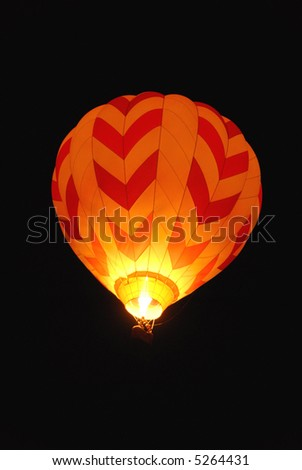 Hot air balloon against the night sky, Reno, Nevada - stock photo