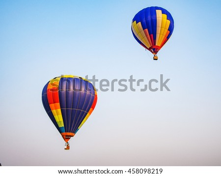 hot air balloon airship in journey on sky background