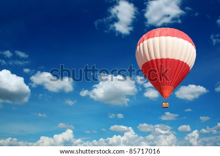 Hot Air Balloon and blue sky - stock photo